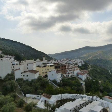 Bodegas Bentomiz overlooks the white-washed village of Sayalonga and the Mediterranean beyond