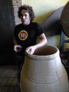 René Jnr with his experimental, locally produced amphora